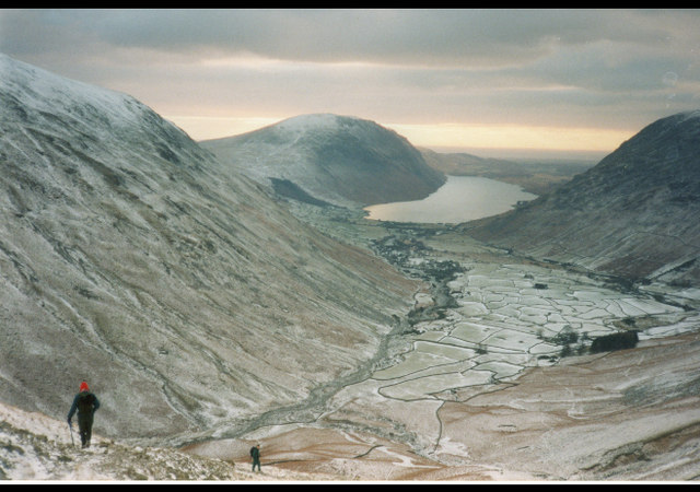 Wasdale Head from scree on Great Gable