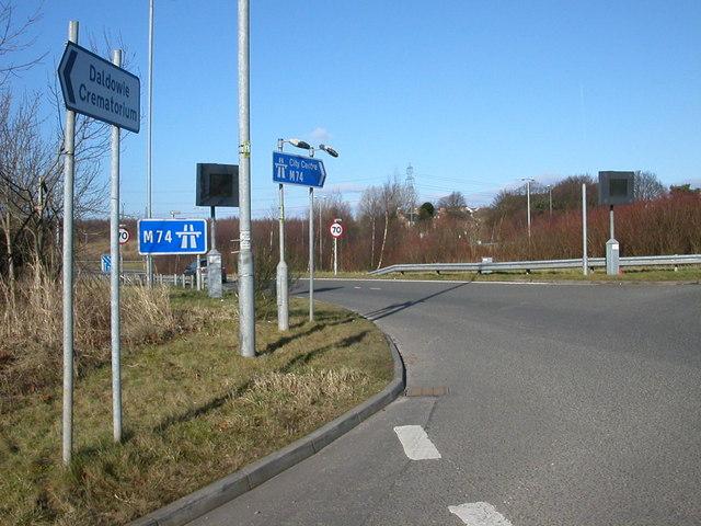 Slip road onto M74 Motorway to Glasgow.