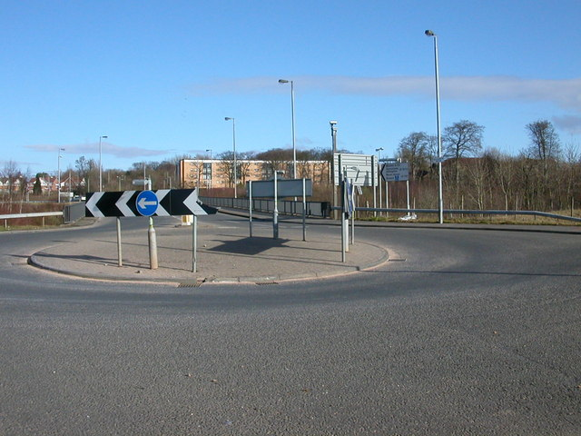 Roundabout looking north to the A74.