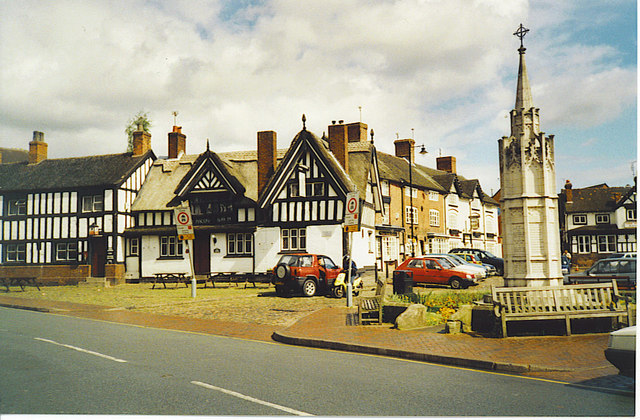 Half-timbered Houses and War Memorial, Sandbach.