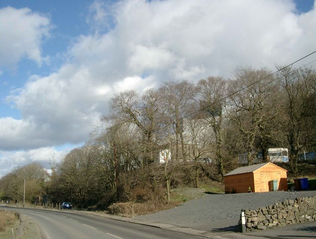 Hillhouse Quarry, through the trees, by the A759