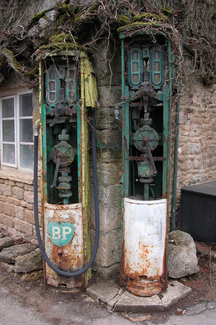 Old petrol pumps in winter, Withington
