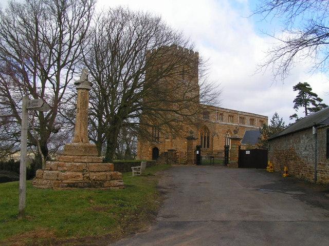 Great Brington Cross and Church