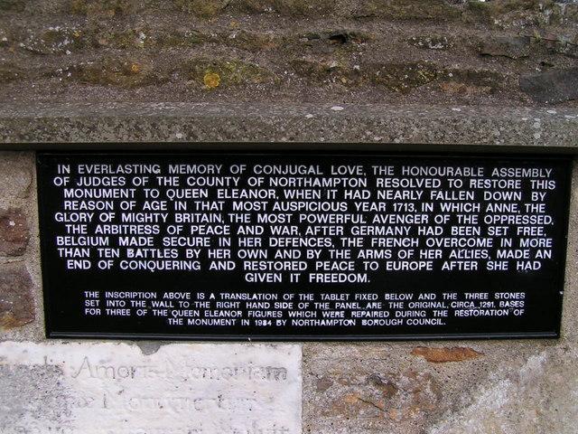 Plaque, Queen Eleanor's Cross