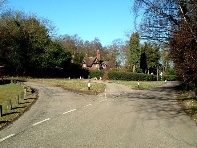 Road junction near Newsetts Wood