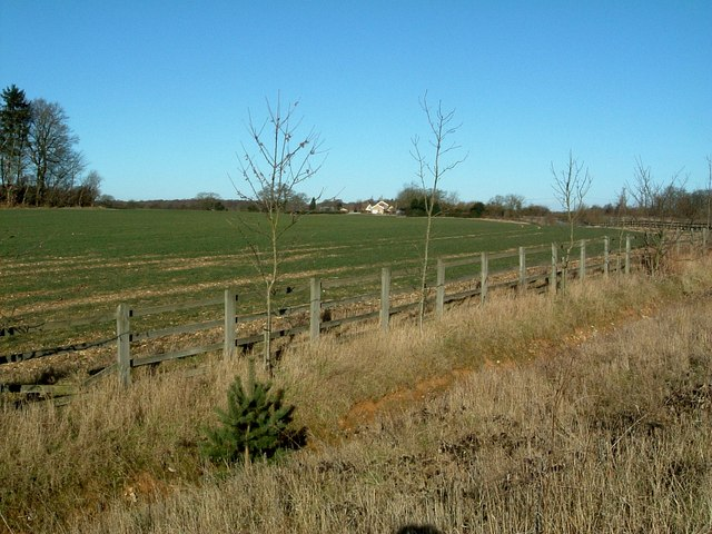 Looking across fields towards Shootersway Farm
