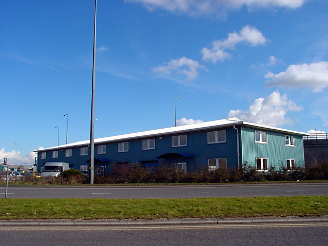 Industrial unit by Motorway slip road