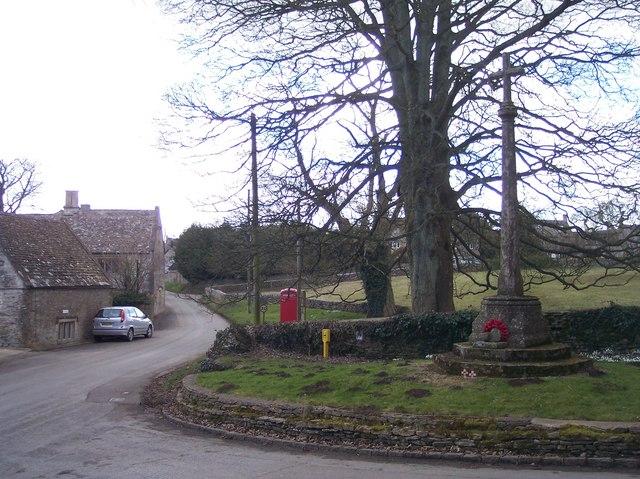 Brimpsfield Village Street and War Memorial