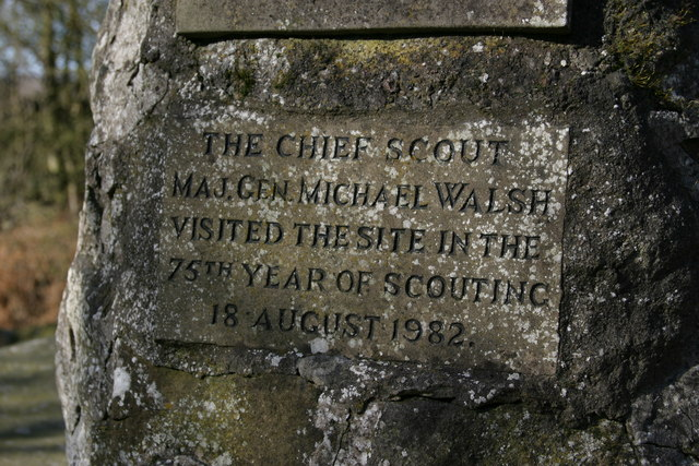 Plaque on cairn at Look Wide Camp Site