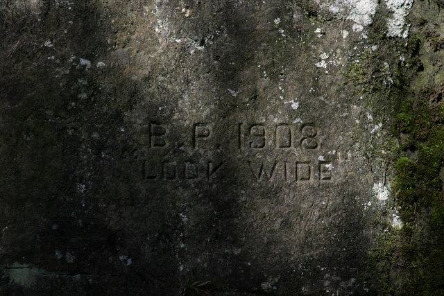 Inscription on cairn at Look Wide Camp Site