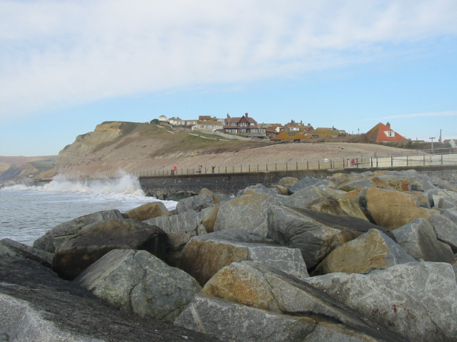 Sea defences and West Cliff, West Bay