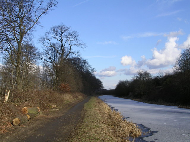 Frozen Forth Clyde Canal near Cleddans, Kirkintilloch