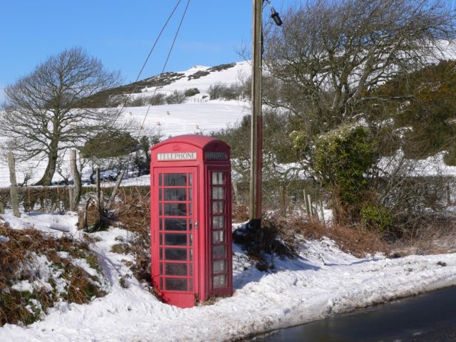 Telephone Call Box at Chweffordd, with Cefn Du in the Background