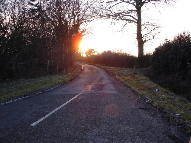 Sunset on the lane leading to Pink Green
