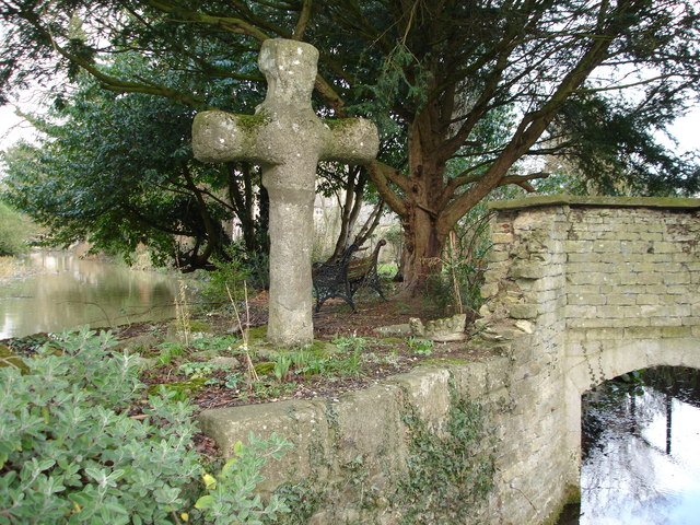 Old stone cross on the opposite side of the road to the Hare and Hounds, Greatford