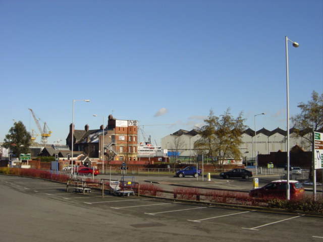 Looking towards Cammell Lairds Shipyard