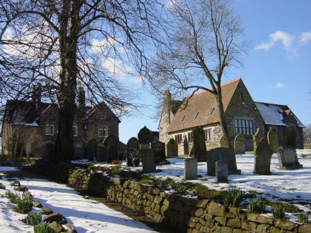 Gravestones and Church Hall, Barnston