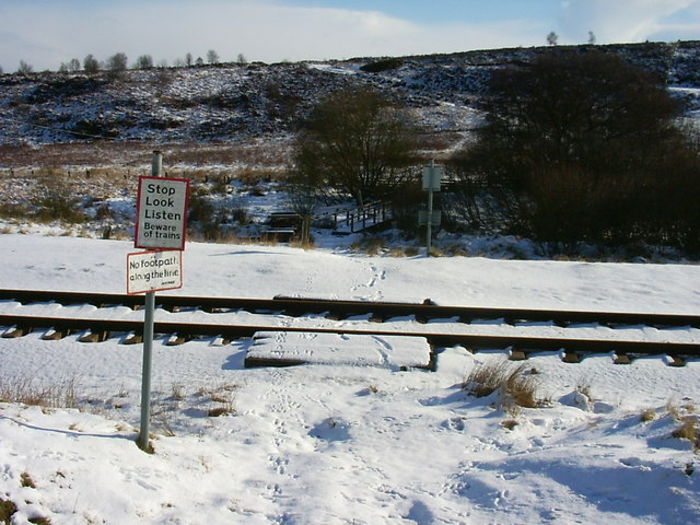 Footpath crosses railway