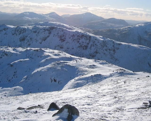 Col between Creag Mhor & its southern ridge Stob nan Clach