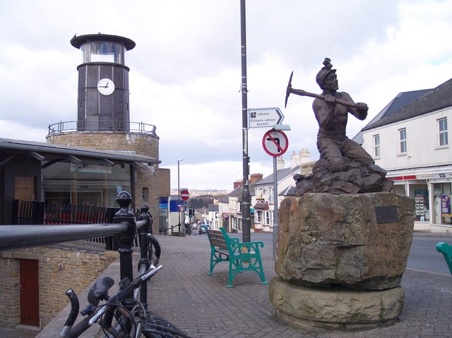 Cinderford Town Centre and  the Miners' Memorial