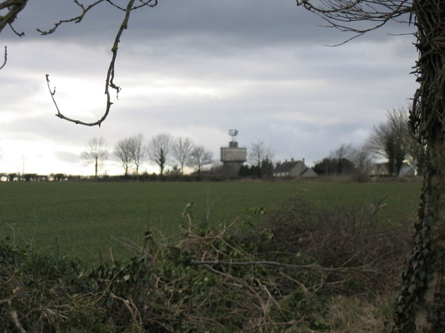 View over fields to Tarlton Water Tower