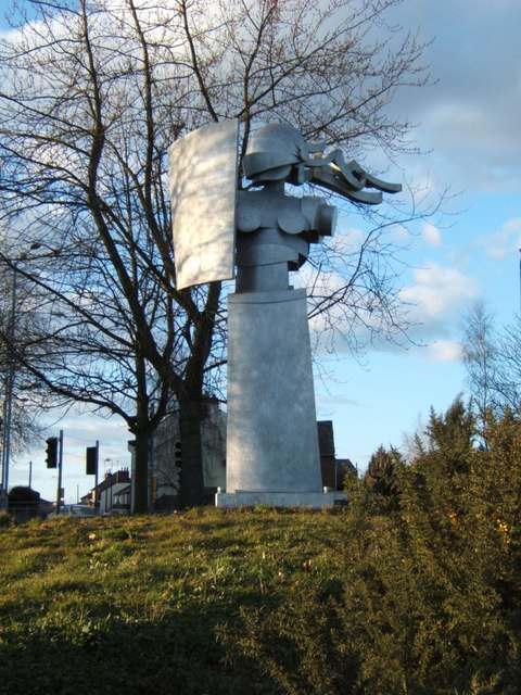 This sculpture stands on a roundabout near Colchester North Station.