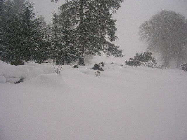 Snow drifts by Hazlehead Golf Course