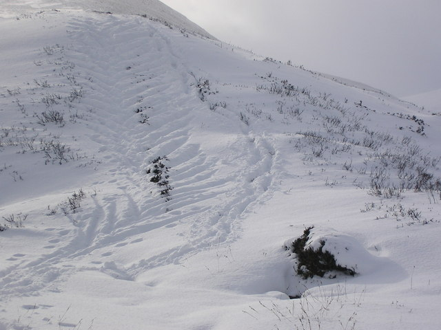 Uphill ski-ing marks above Allt Connie