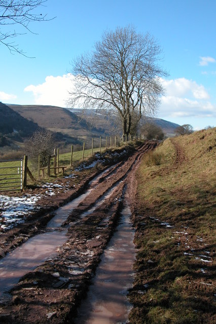 Frozen track in the Vale of Ewyas