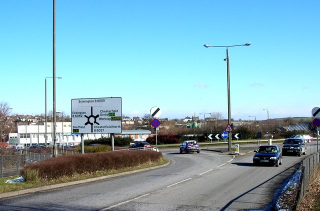 Roundabout at north end of Chesterfield By-Pass (A61)