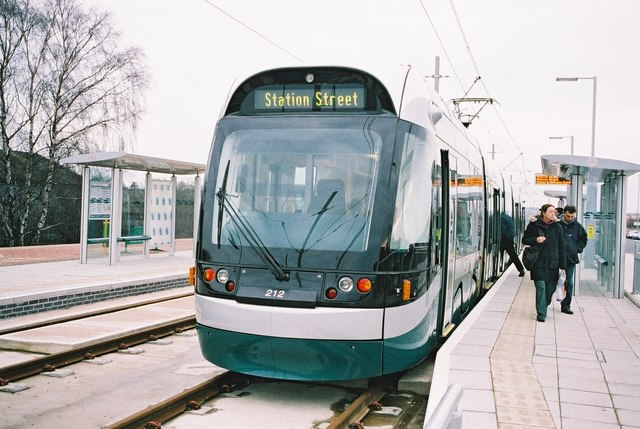 Tram for Nottingham at Hucknall station