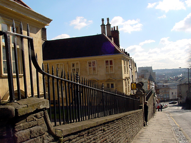 Looking down St Michael's Hill past the Almshouse
