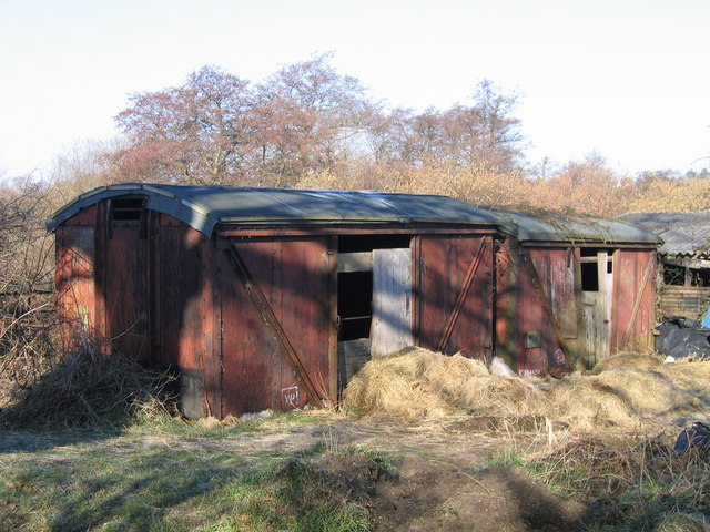 Goods vans used as sheds at Low Common