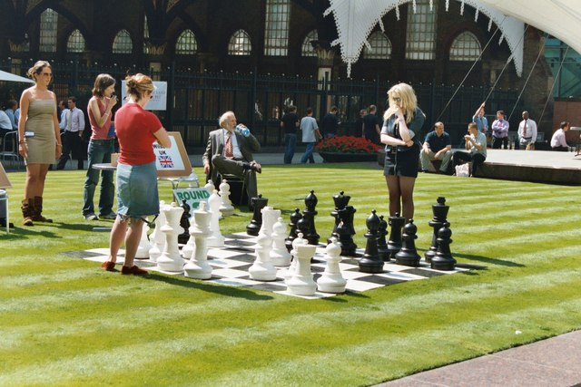 International open-air chess at the Broadgate Centre, London