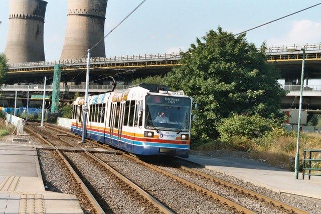 Sheffield tram near Meadowhall