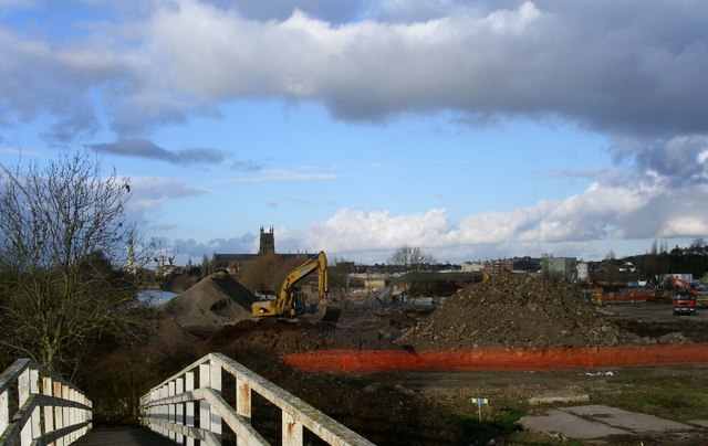 The start of development of the riverside south of Worcester