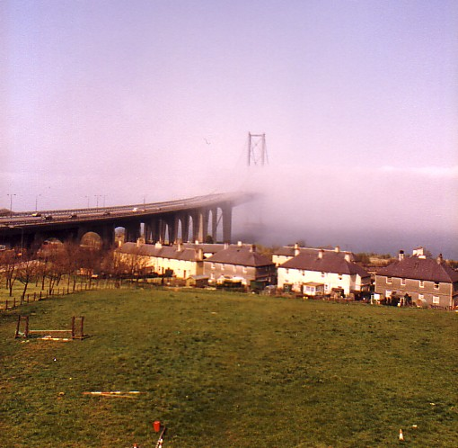 Forth Road Bridge in the mist
