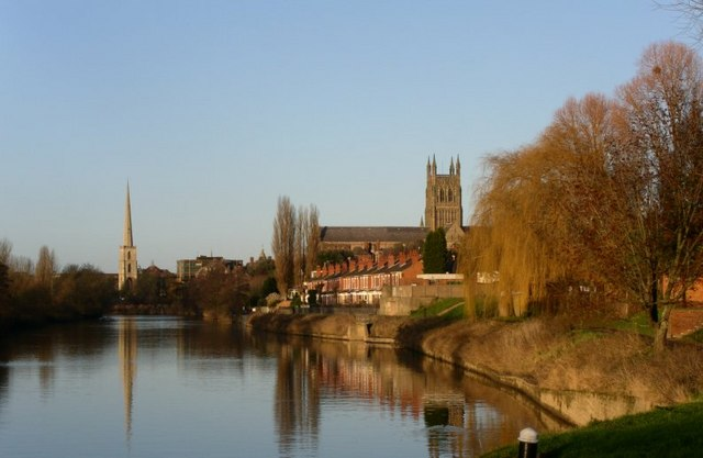 Worcester in winter beside a placid river Severn