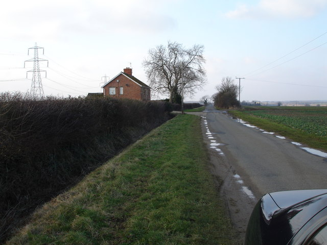 Road from Greatford to Uffington (track on left is entrance to Wood farm