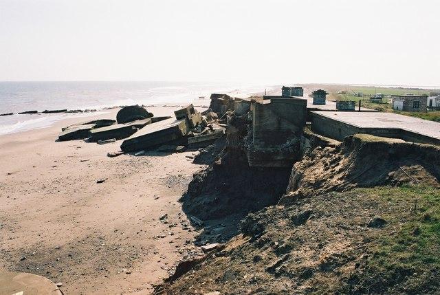 Coastal erosion at Kilnsea,  Yorkshire