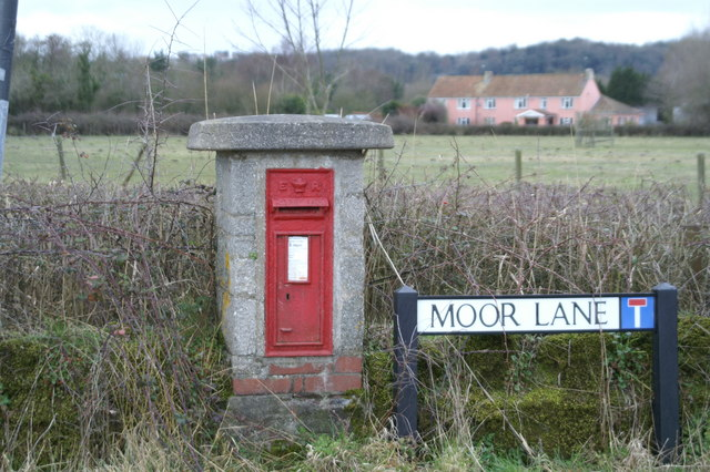 Post Box at Moor Lane, by Clevedon