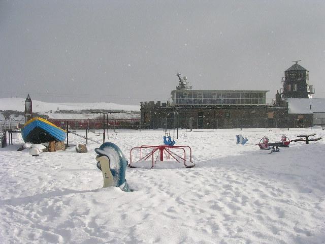Footdee playpark under snow