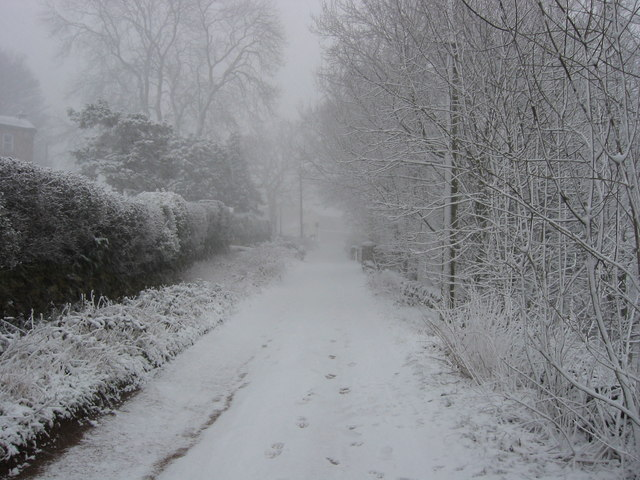 Early spring snow fall, looking North towards Bankhouse public house on