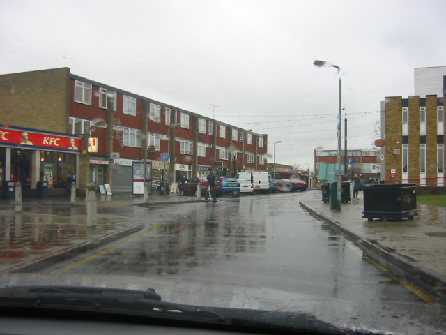 A rainy Corringham Town Centre