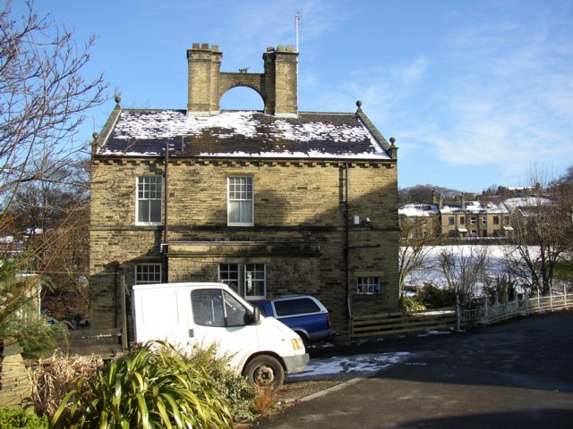 House with cat, Brook Grain Hill, Rastrick