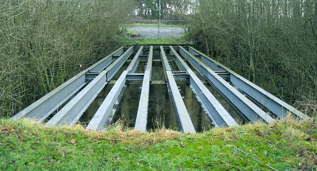Stripped bridge to former open cast near Llandybie