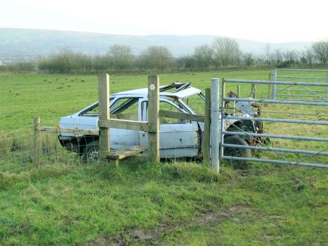 Stile at path crossing west of Llandybie