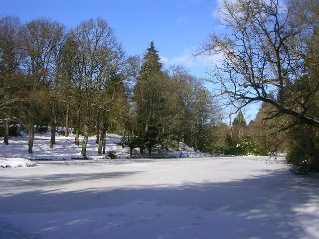 Frozen pond in the grounds of Crathes Castle