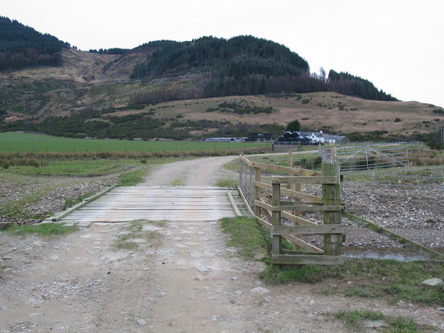 Wooden bridge over burn to Rhonadale Farm, Carradale.