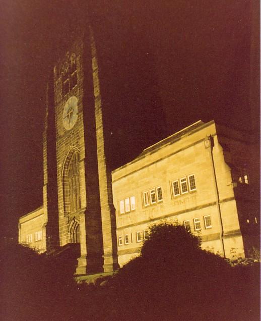 Bradford Cathedral at night, Jan 1980